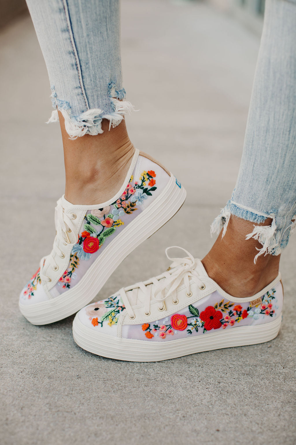 Triple Kick Sneakers - Mesh Embroidered Floral