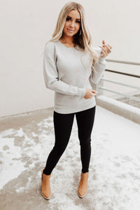 Be Mine Heart Sweater - Grey