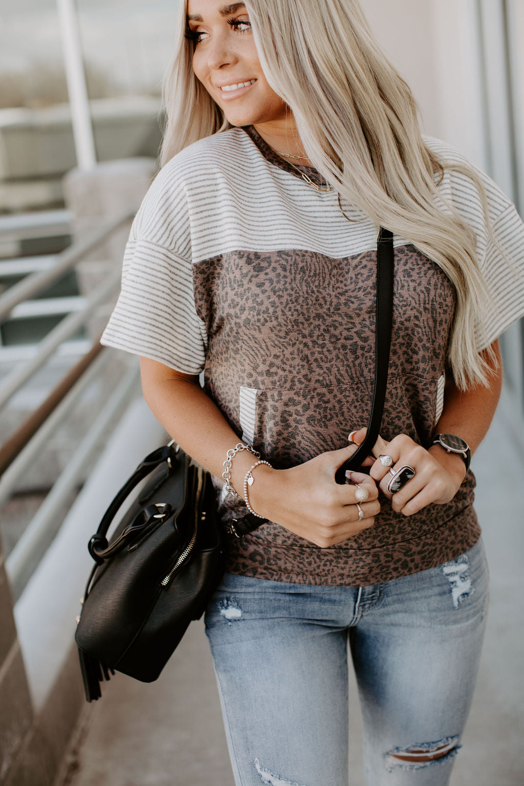 Sutton Leopard & Stripes Tee