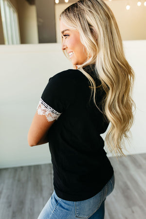 Lulu Lace Trim Tee - Black