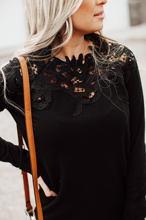 Lace Shoulder Top - Black