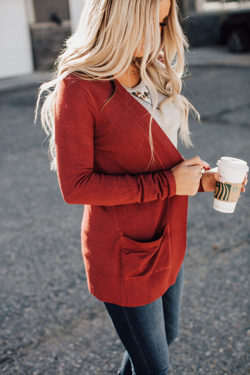 Lightweight Cuddle Cardigan - Rust Red