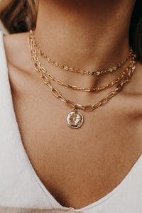 Compass Charm Chain Link Necklace