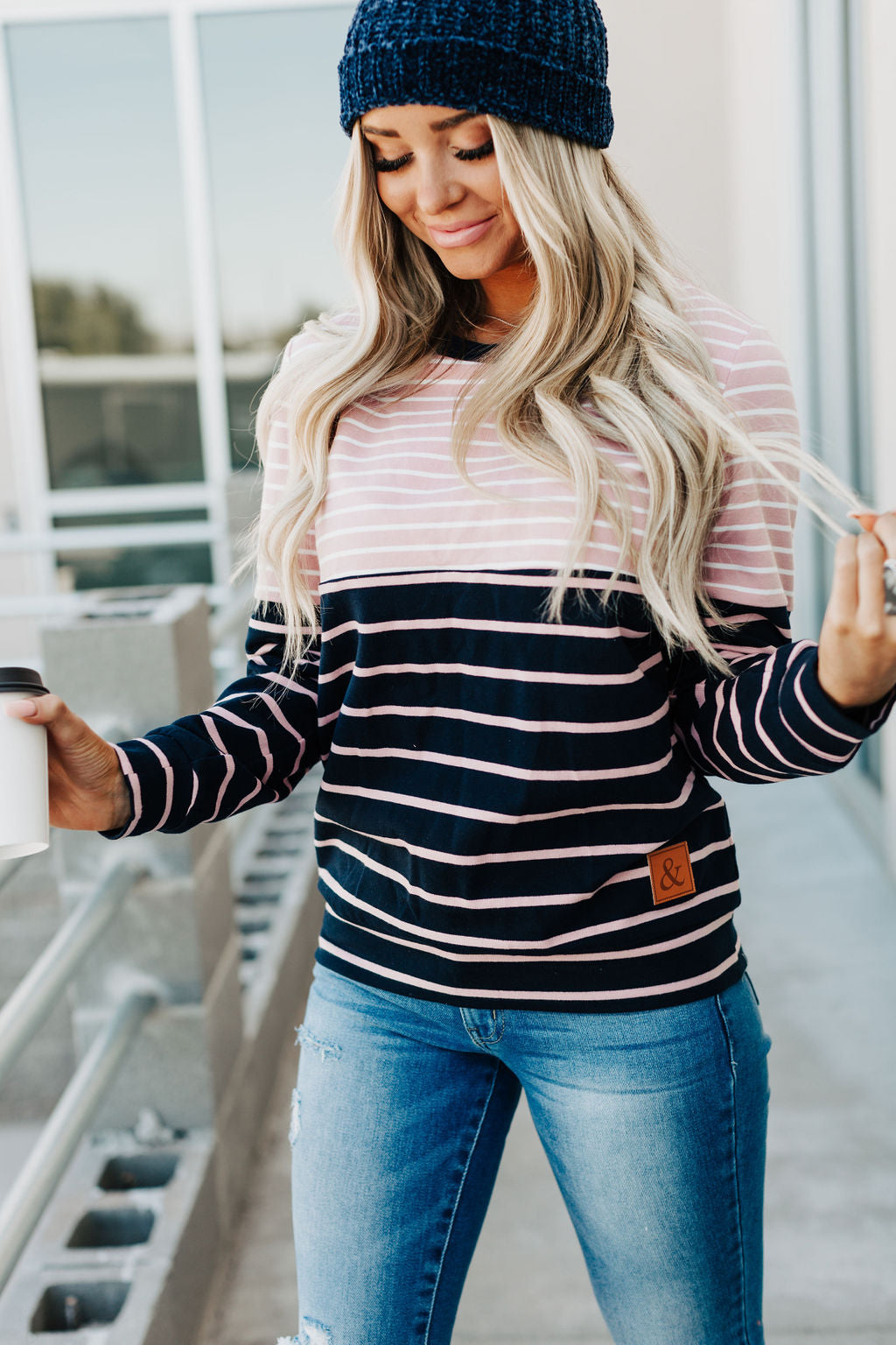 Accent Pullover - Pink & Blue Stripe