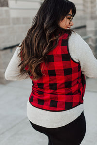 Buffalo Plaid Zip Up Vest - Red