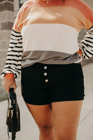 Button Fly Frayed Shorts - Black