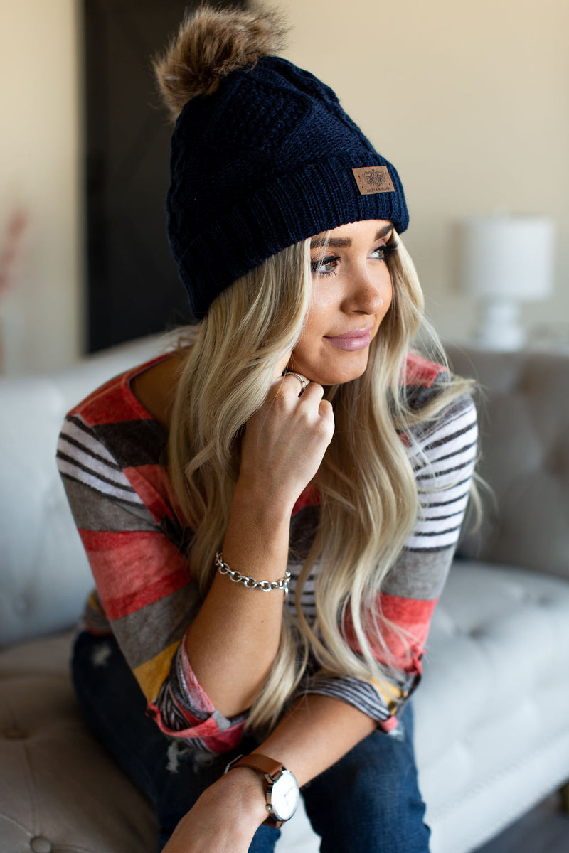Fleece Lined Pom Beanie - Navy