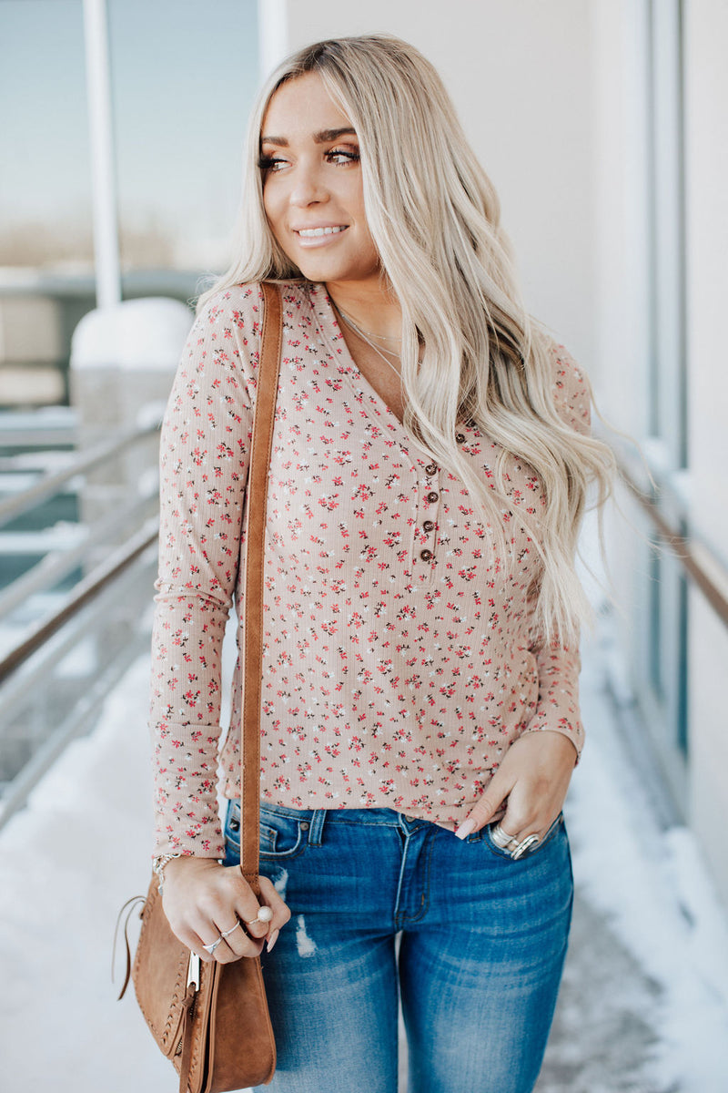 Samantha Floral Top - Taupe
