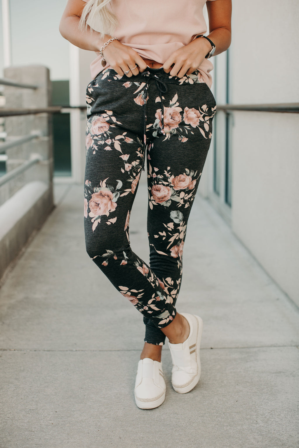 Hayden Floral Joggers - Charcoal