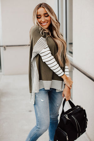 Walk This Way Poncho Sweater - Olive