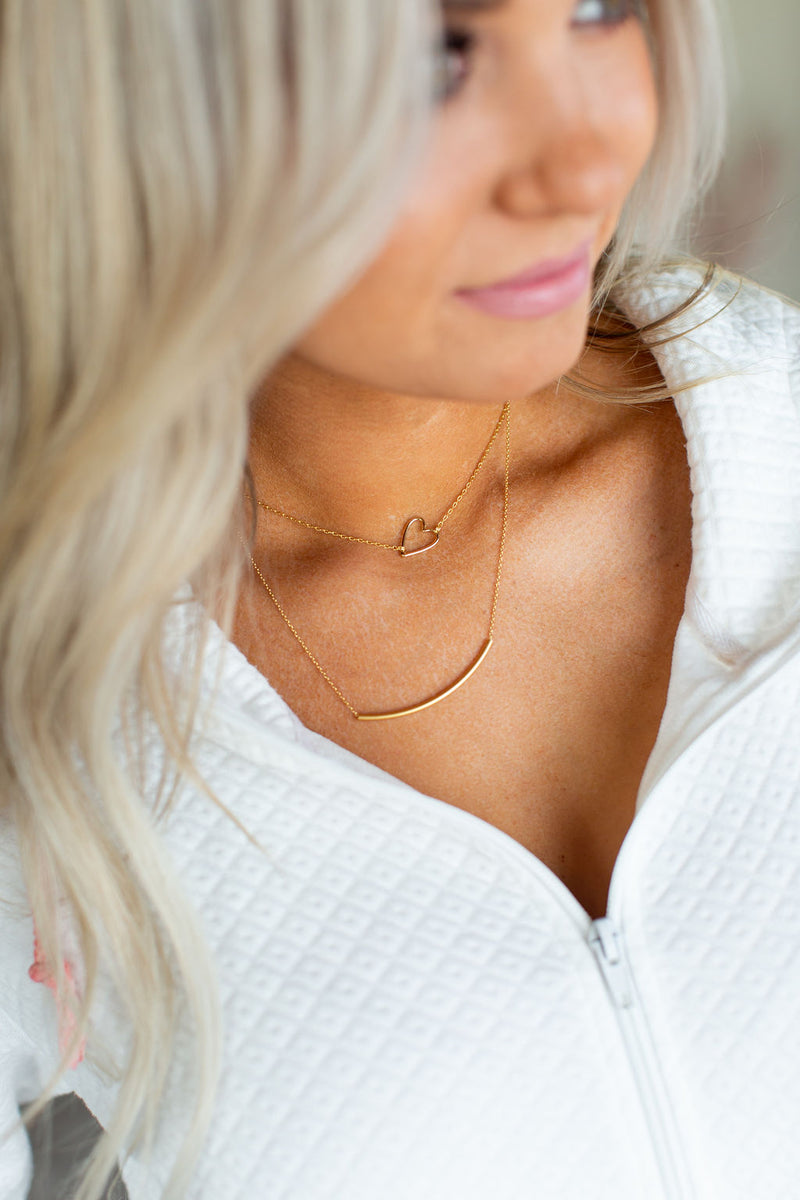 Open Heart Necklace - Gold