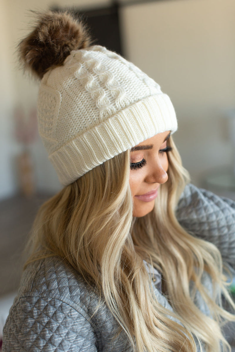 Fleece Lined Pom Beanie - Ivory