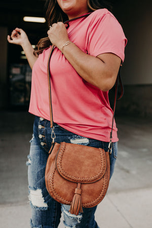 Penelope Braided Detail Crossbody - Light Brown