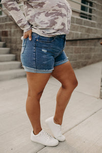 Button Fly Frayed Shorts - Denim