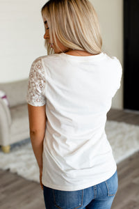 Lace Sleeve Tee - VNeck White