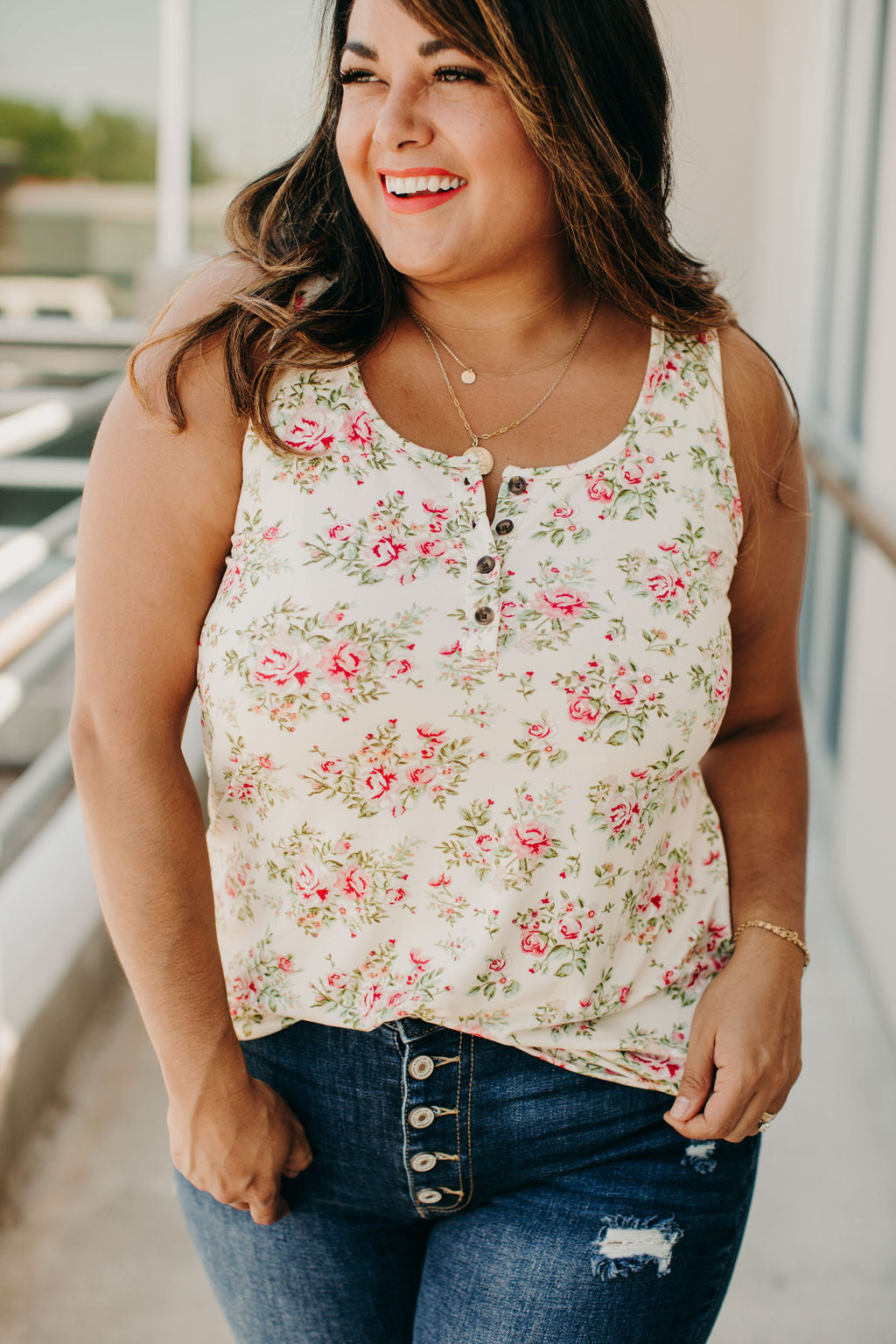 Laura Floral Henley Tank