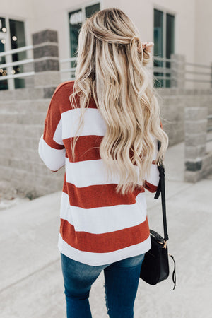 Kelsey Striped Sweater - Brick