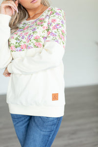 Floral Accent Pullover - Buttercream