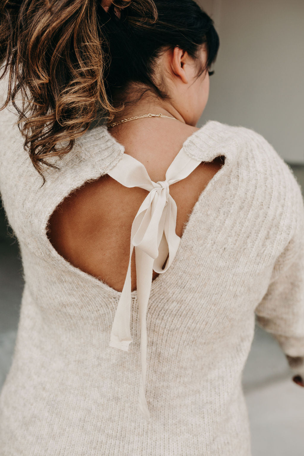Bow Back Sweater - Oatmeal