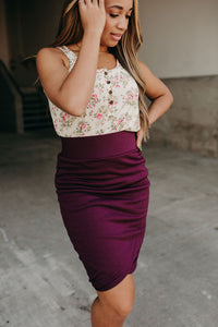 Ruched Skirt - Wine