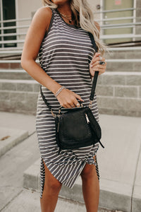 Astrid Stripe Tank Dress - Charcoal