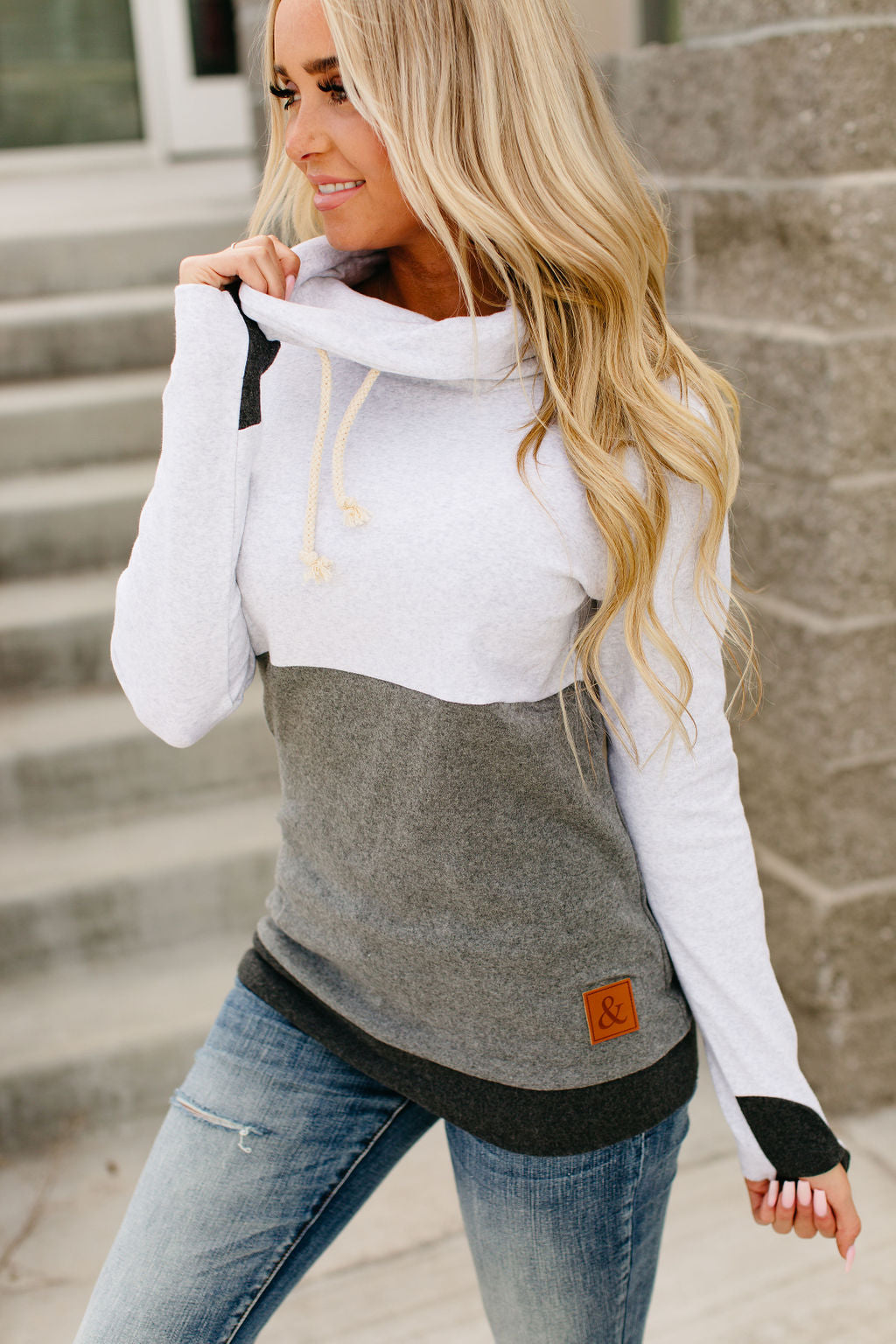 CowlNeck Sweatshirt - Colorblock Grey