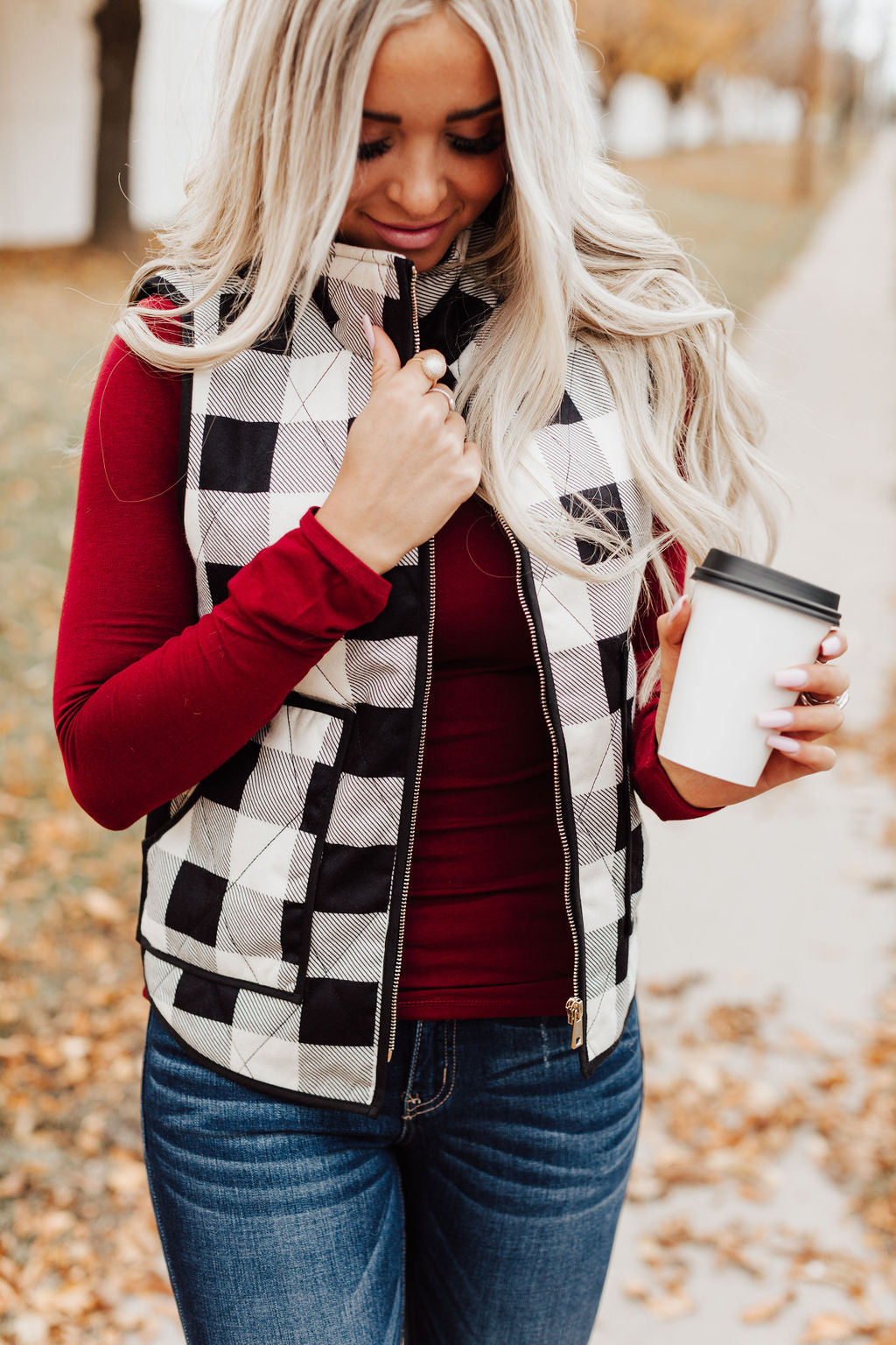 Buffalo Plaid Zip Up Vest