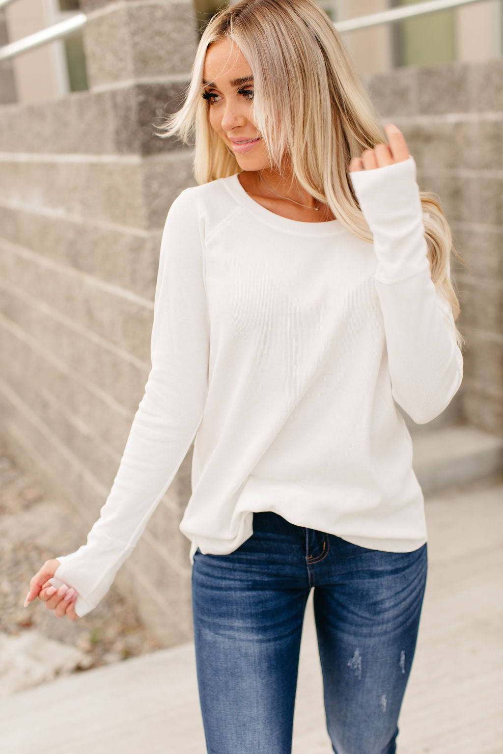 Cozy Rib Knit Tunic - Off White