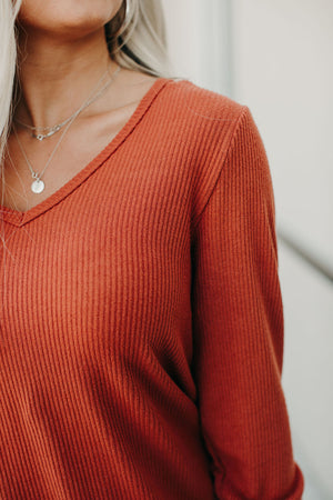 Ribbed VNeck - Terracotta