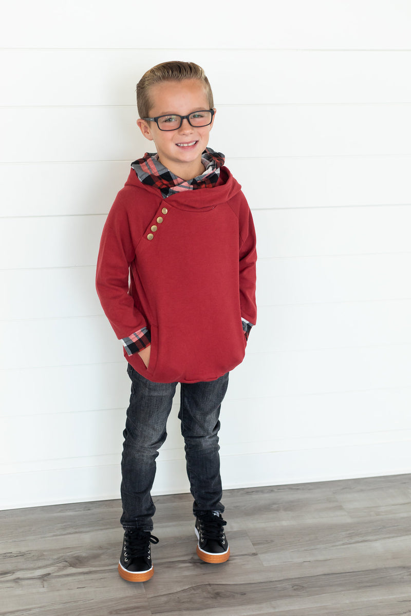 Kids DoubleHood™ - Cranberry Plaid