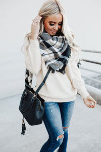 Black Plaid Blanket Scarf