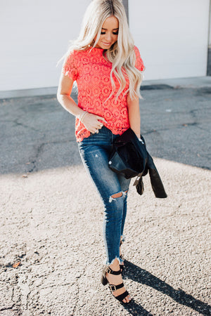 Button Back Lace Top - Poppy
