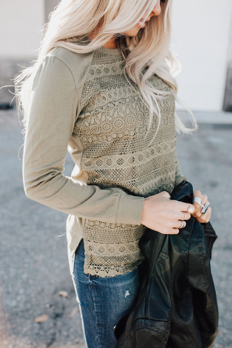 Lace Front Top - Olive