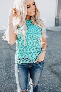 Button Back Lace Top - Mint