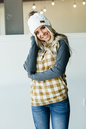 DoubleHood™ Sweatshirt - Goldenrod Gingham