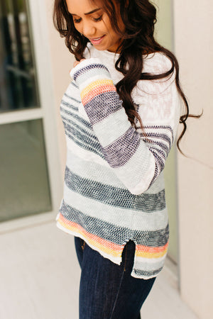 Leila Striped Pocket Sweater