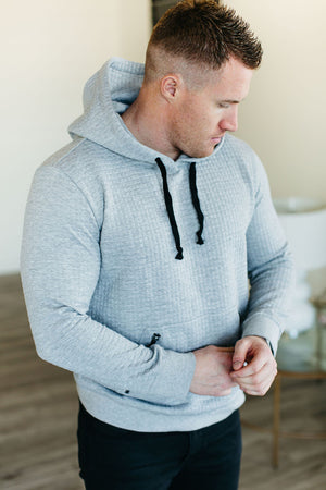 Mens Essentials Hoodie - Quilted Grey