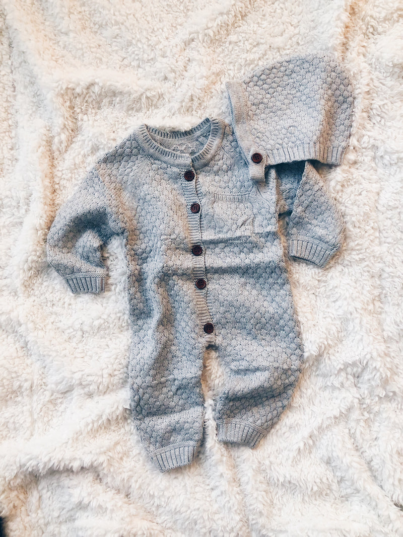 Unisex Knitted Romper - Grey