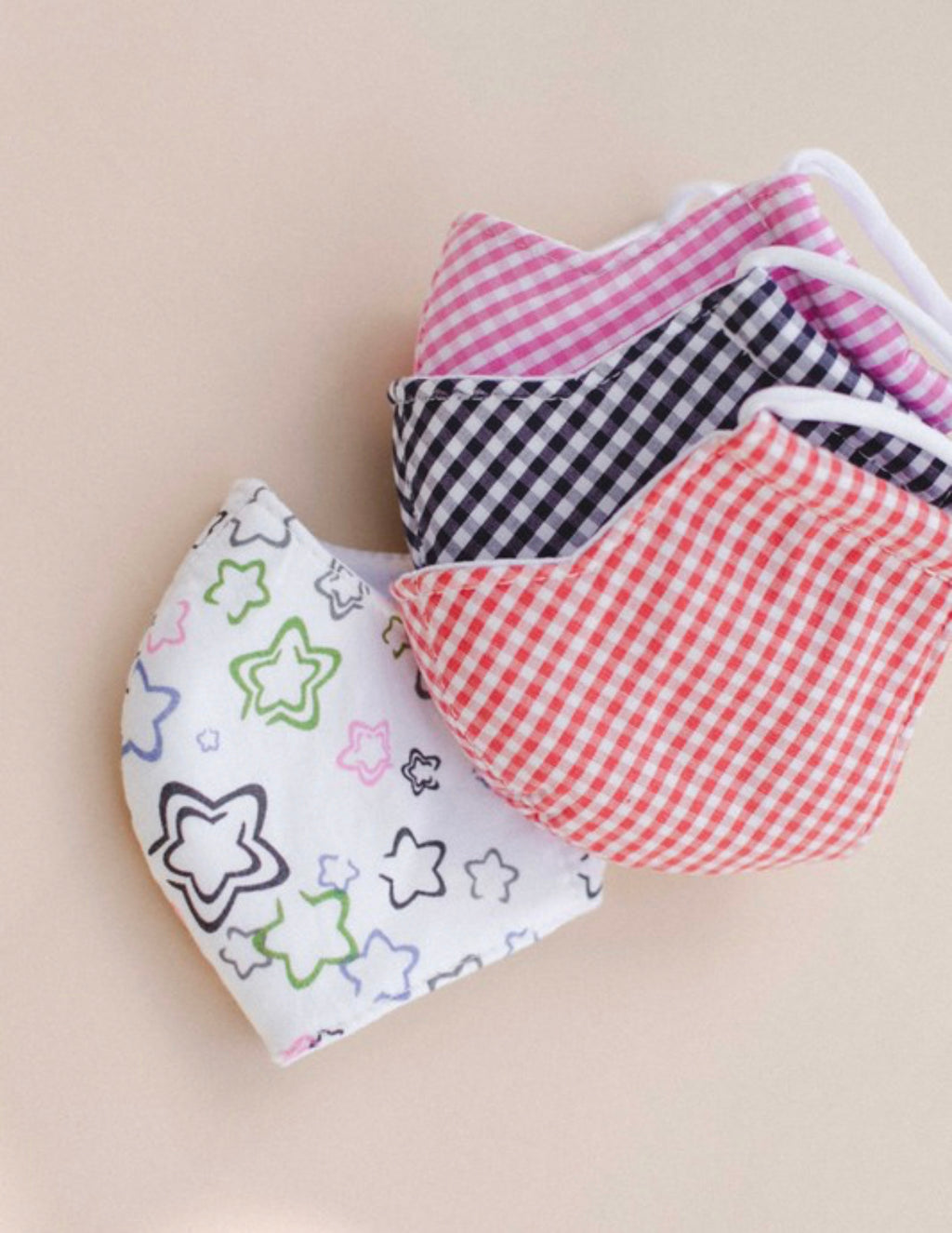 Kids Cotton Face Mask - Orange Gingham
