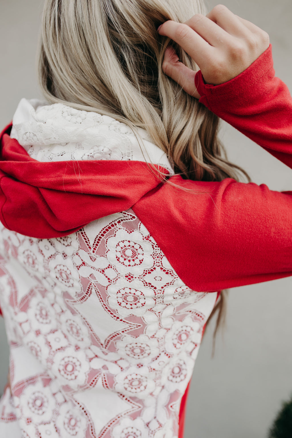 DoubleHood™ Sweatshirt - Red Lace