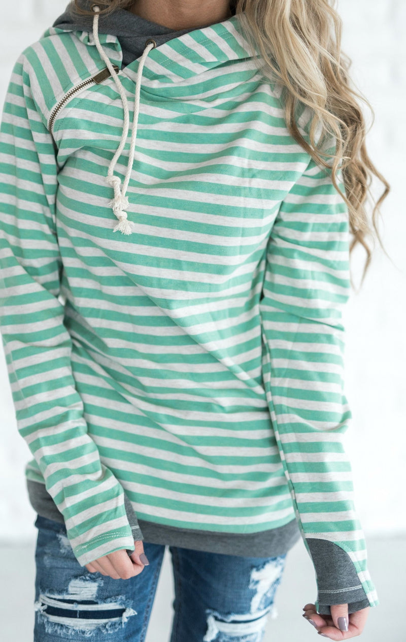 DoubleHood™ Sweatshirt - Mint Stripe