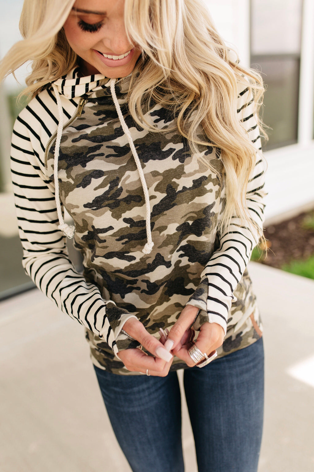 *Exclusive Baseball DoubleHood™ Sweatshirt - Camo & Stripe