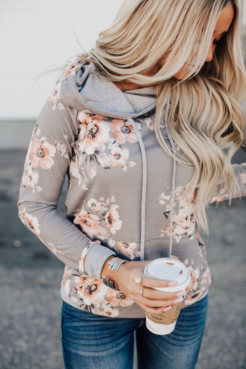 Hailey Floral Hoodie - Light Grey