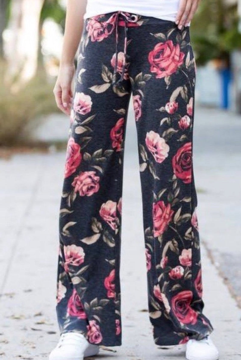 Wide Leg Comfs - Charcoal Floral