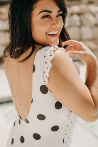 Mixed Print Swimsuit - Ivory Dot