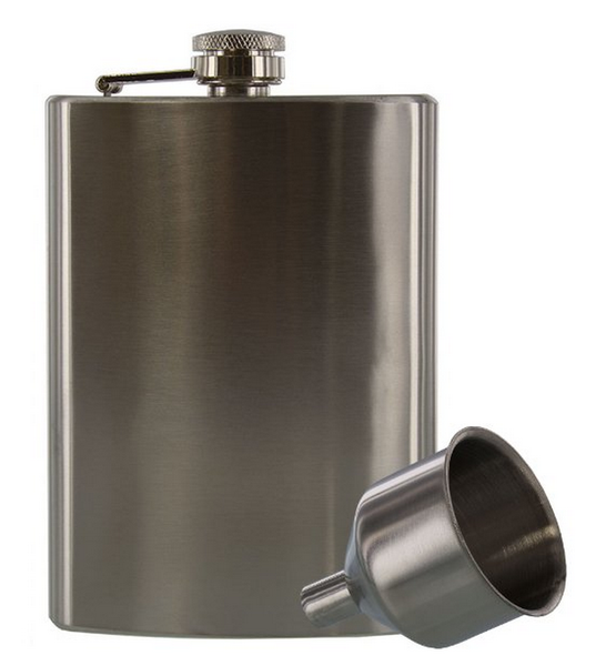 Hip Flask and Funnel Set - Stainless Steel, 8 oz.