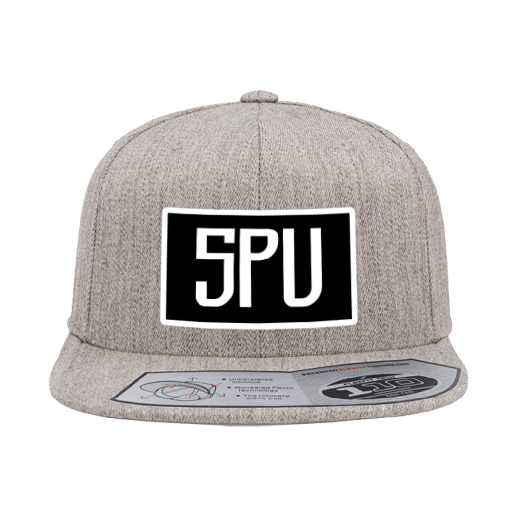 5PU Heather Gray, Black and White Snapback