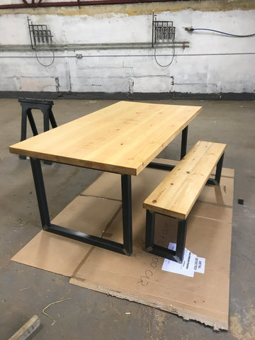 industrial dining table and bench, pine with metal legs