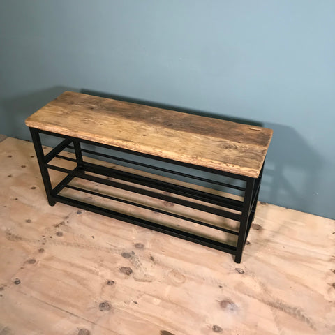 Shoe storage bench with scaffold board top