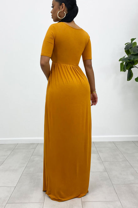 Anywhere And Everywhere Maxi Dress (Mustard)